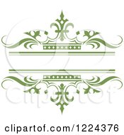 Clipart Of A Dark Green Crown And Wave Wedding Frame Royalty Free Vector Illustration