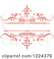 Clipart Of A Pink Crown And Wave Wedding Frame Royalty Free Vector Illustration