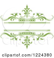 Clipart Of A Green Crown And Wave Wedding Frame Royalty Free Vector Illustration