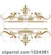 Clipart Of A Brown Crown And Wave Wedding Frame Royalty Free Vector Illustration