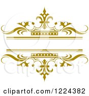 Clipart Of A Gold Crown And Wave Wedding Frame Royalty Free Vector Illustration by Lal Perera #COLLC1224382-0106