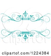 Clipart Of A Turquoise Crown And Flourish Wedding Frame Royalty Free Vector Illustration
