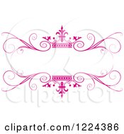 Clipart Of A Pink Crown And Flourish Wedding Frame Royalty Free Vector Illustration by Lal Perera