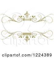 Clipart Of An Olive Green Crown And Flourish Wedding Frame Royalty Free Vector Illustration by Lal Perera