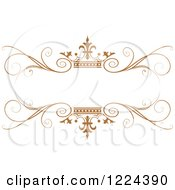 Clipart Of A Brown Crown And Flourish Wedding Frame Royalty Free Vector Illustration by Lal Perera