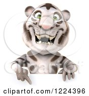 Clipart Of A 3d White Tiger Mascot Pointing Down To A Sign Royalty Free Illustration