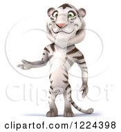 Clipart Of A 3d White Tiger Mascot Presenting Royalty Free Illustration
