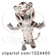 Clipart Of A 3d White Tiger Mascot Roaring And Running Royalty Free Illustration