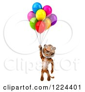 Clipart Of A 3d Tiger Mascot Floating With Party Balloons Royalty Free Illustration