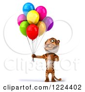 Clipart Of A 3d Tiger Mascot Looking Up At Party Balloons Royalty Free Illustration
