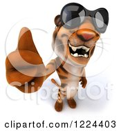 Clipart Of A 3d Tiger Mascot Wearing Sunglasses And Holding A Thumb Up Royalty Free Illustration
