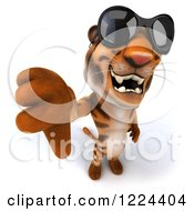 Clipart Of A 3d Tiger Mascot Wearing Sunglasses And Holding A Thumb Down Royalty Free Illustration