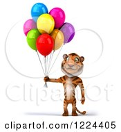 Clipart Of A 3d Tiger Mascot Standing With Party Balloons Royalty Free Illustration