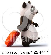 Clipart Of A 3d Traveling Panda With Rolling Luggage 2 Royalty Free Illustration