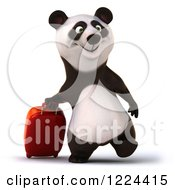 Clipart Of A 3d Traveling Panda With Rolling Luggage Royalty Free Illustration