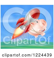 Clipart Of A Happy Pig Flying With A Rocket Over A Valley Royalty Free Vector Illustration