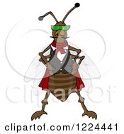 Clipart Of A Cool Bug Wearing A Vest And Sunglasses Royalty Free Illustration by djart