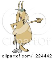 Clipart Of A Golfer Goat Pointing Royalty Free Illustration