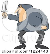 Clipart Of A White Man In A Hoodie Holding A Knife Royalty Free Vector Illustration by djart