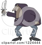 Clipart Of A Black Man In A Hoodie Holding A Knife Royalty Free Vector Illustration