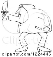 Clipart Of An Outlined Man In A Hoodie Holding A Knife Royalty Free Vector Illustration