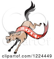 Clipart Of A Running Horse With A Year 2014 Banner Royalty Free Vector Illustration