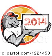Clipart Of A Strong Horse Holding A Year 2014 Sign In A Circle Royalty Free Vector Illustration by patrimonio