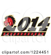 Clipart Of A Red Horse Head On 2 In Year 2014 Royalty Free Vector Illustration
