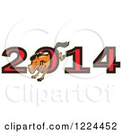 Clipart Of A Horse Leaping Through The Zero In Year 2014 Royalty Free Vector Illustration