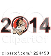 Clipart Of A Muscular Horse In The Zero Of Year 2014 Royalty Free Vector Illustration