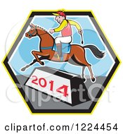 Clipart Of A Jockey And Horse Leaping A Year 2014 Bar Ina Hexagon Royalty Free Vector Illustration by patrimonio