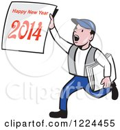 Clipart Of A Cartoon Newsie Boy Holding A Happy New Year 2014 Newspaper Royalty Free Vector Illustration
