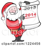 Clipart Of Santa Holding A Scroll With Crossed Out 2013 Over 2014 Royalty Free Vector Illustration by patrimonio