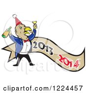 Clipart Of A Turkey Bird Celebrating The New Year Over A Banner Royalty Free Vector Illustration by patrimonio