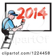 Clipart Of A Cartoon Painter With Red Year 2014 On A Billboard Royalty Free Vector Illustration by patrimonio