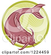 Clipart Of A Red Catfish Over A Green Circle Of Rays Royalty Free Vector Illustration by patrimonio