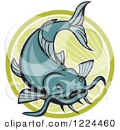 Clipart Of A Leaping Catfish Over A Green Circle Of Rays Royalty Free Vector Illustration by patrimonio