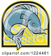 Clipart Of A Leaping Catfish Over An Arch Of Sun Rays Royalty Free Vector Illustration by patrimonio