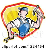 Clipart Of A Cartoon Builder Man With A Hammer And Wrench In A Shield Of Rays Royalty Free Vector Illustration