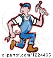 Poster, Art Print Of Cartoon Builder Man Running With A Hammer And Wrench