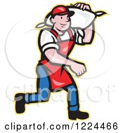 Clipart Of A Cartoon Flour Miller Worker Carrying A Sack Over His Shoulder Royalty Free Vector Illustration