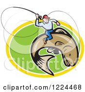 Clipart Of A Fly Fisherman Riding A Trout In A Green And Yellow Oval Royalty Free Vector Illustration