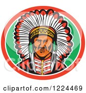 Clipart Of A Native American Indian Chief With A Feather Headdress In A Green And Red Oval Royalty Free Vector Illustration