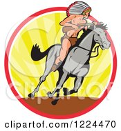 Clipart Of A Native American Indian Chief With A Rifle On Horseback In A Circle Of Rays Royalty Free Vector Illustration