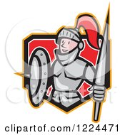 Clipart Of A Cartoon Knight In Armour Holding A Lance And Shield In A Crest Royalty Free Vector Illustration