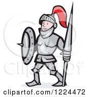 Clipart Of A Happy Cartoon Knight In Armour Holding A Lance And Shield Royalty Free Vector Illustration