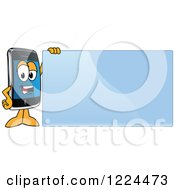 Clipart Of A Smart Phone Mascot Character Standing By A Blue Sign Royalty Free Vector Illustration