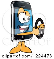 Clipart Of A Smart Phone Mascot Character Holding A Steering Wheel Royalty Free Vector Illustration