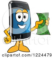 Clipart Of A Smart Phone Mascot Character Holding Cash Royalty Free Vector Illustration