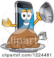 Clipart Of A Smart Phone Mascot Character Serving A Roasted Thanksgiving Turkey Royalty Free Vector Illustration